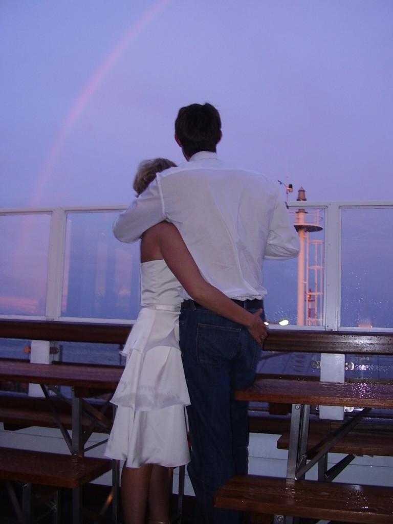 Paar Sonnenuntergang Regenbogen Hochzeit Sylt